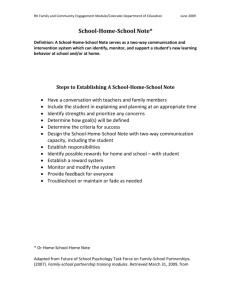 School-Home-School Note* - Colorado Department of Education