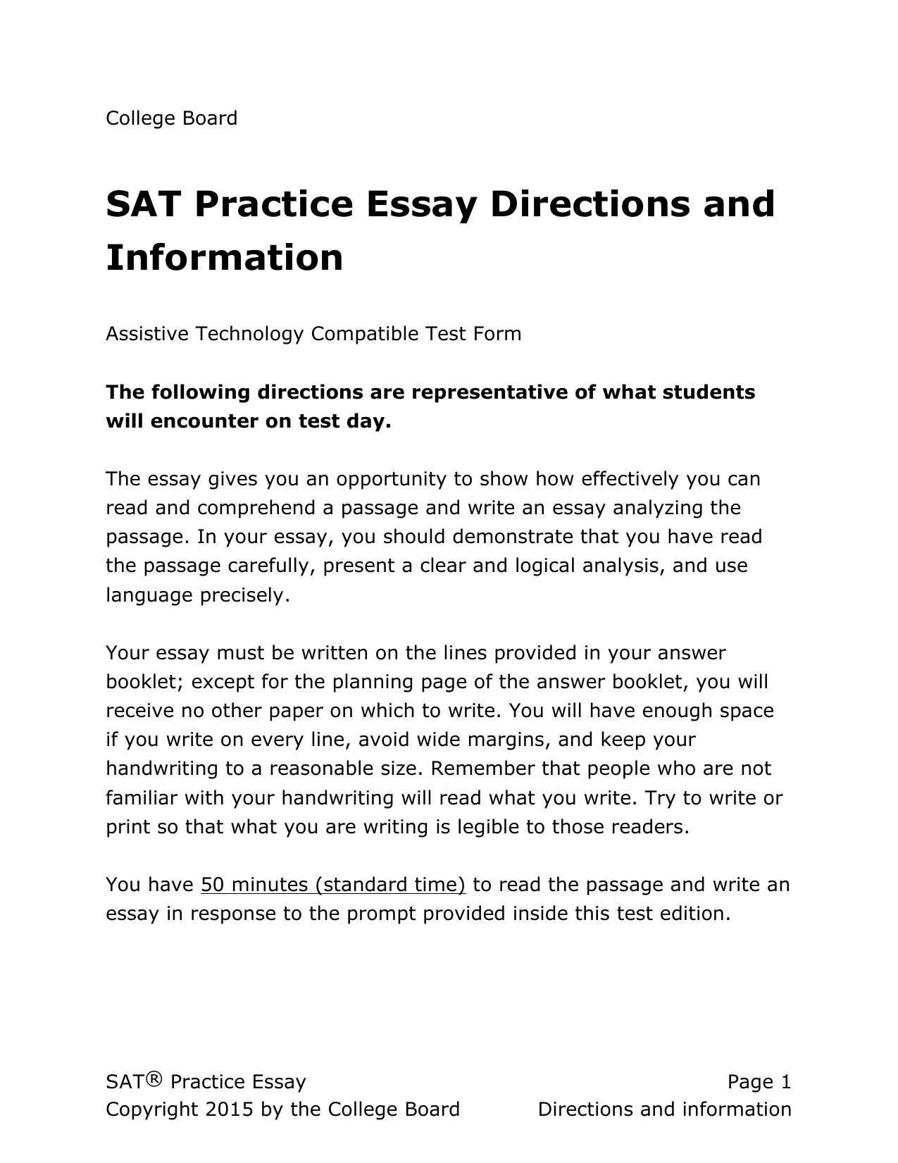 General Directions For Assistive Technology SAT Practice Essays