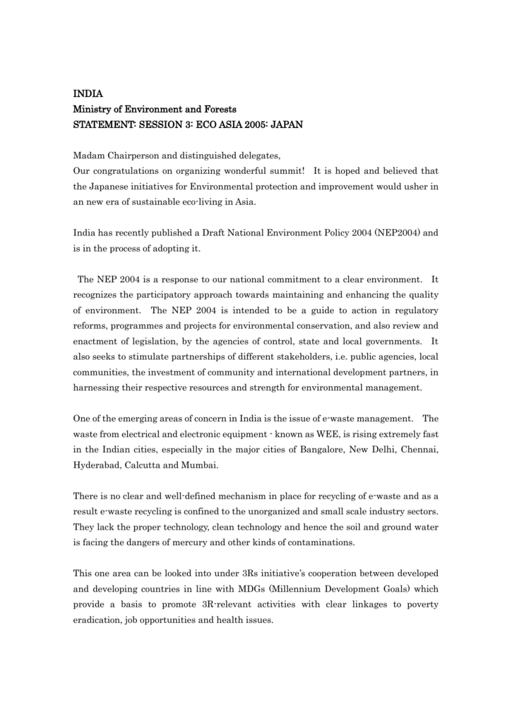 Statement of India