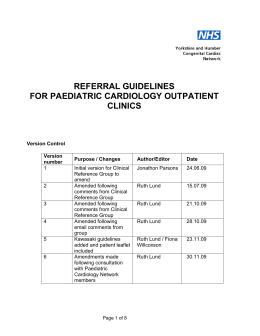 Paediatric Referral Guidelines for Cardiology Outpatients Clinics