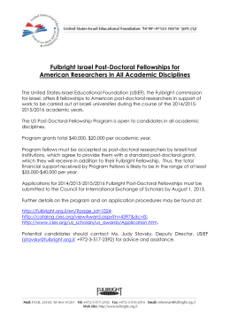 Fulbright Israel Post-Doctoral Fellowships for American