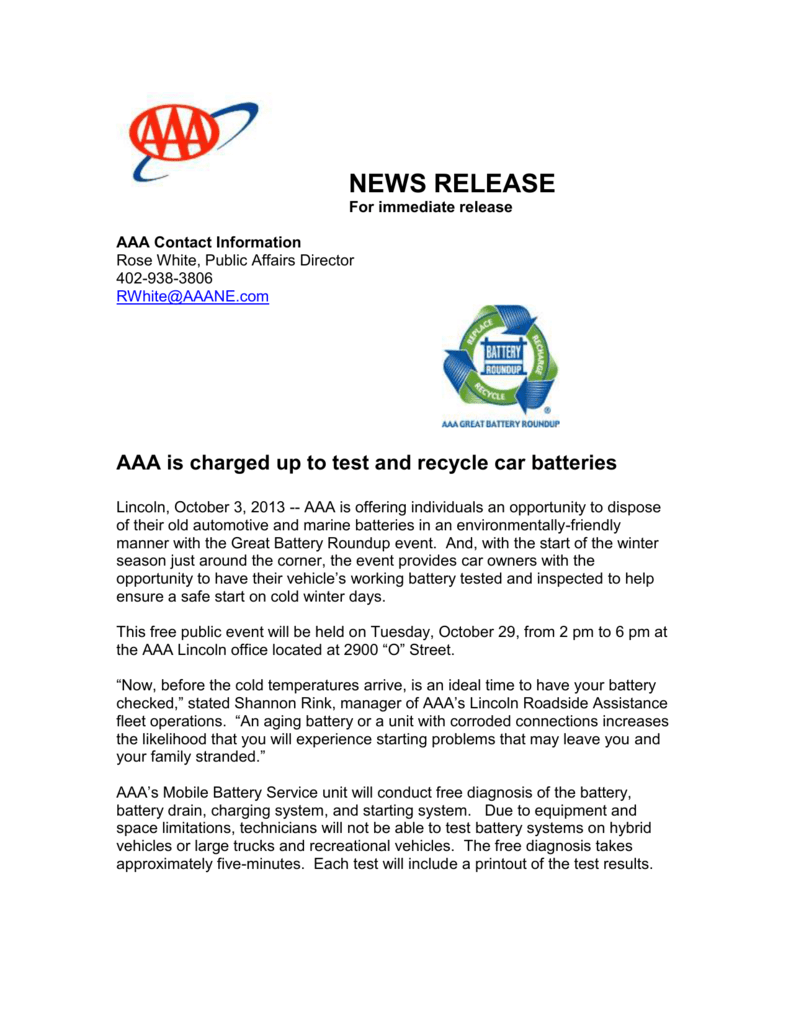 NEWS RELEASE For immediate release AAA Contact Information