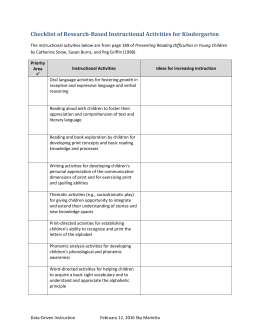 Checklist of Research-Based Instructional Activities for Kindergarten