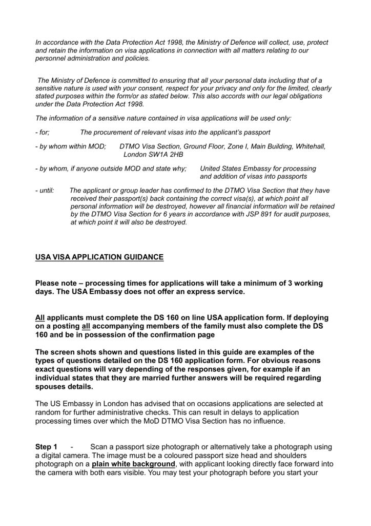 USA Visa Application Guidance Sheet - Aug 12
