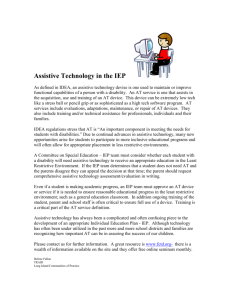 Assistive Technology in the IEP