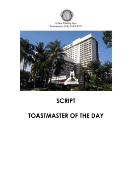 TOASTMASTER OF THE DAY