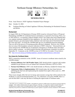 Furnace Standards Memo from NEEP