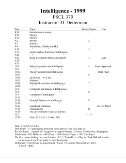 Douglas K. Detterman`s Intelligence Course