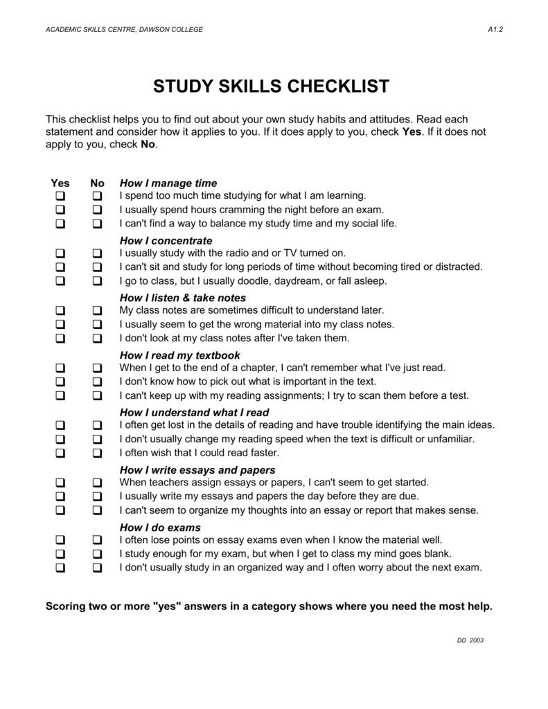 study skill checklist