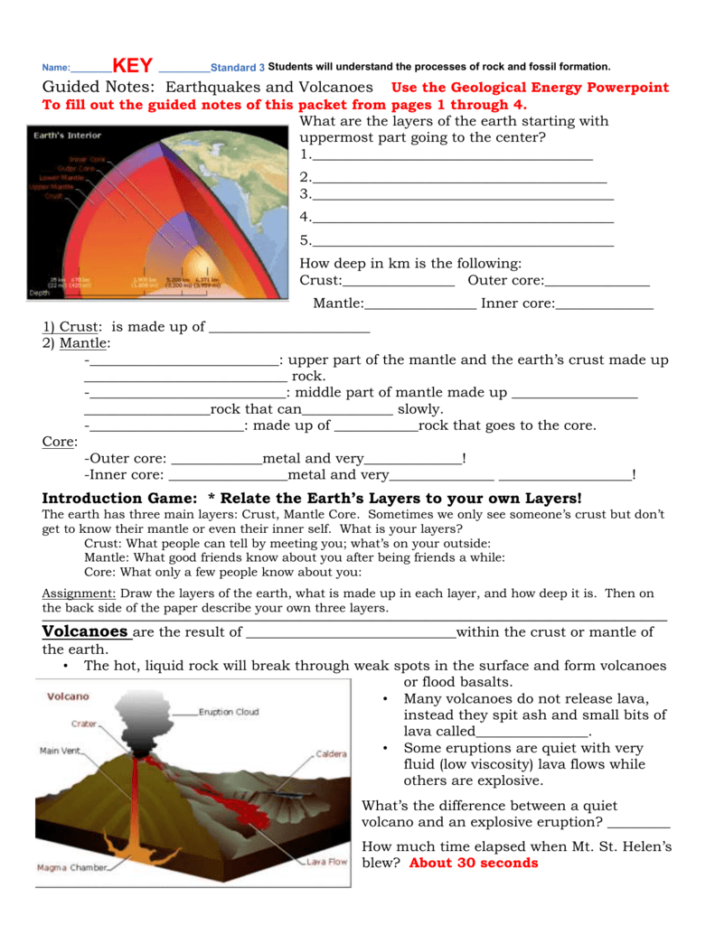 Answer key for earthquakes volcanoes packet robcynllc Choice Image