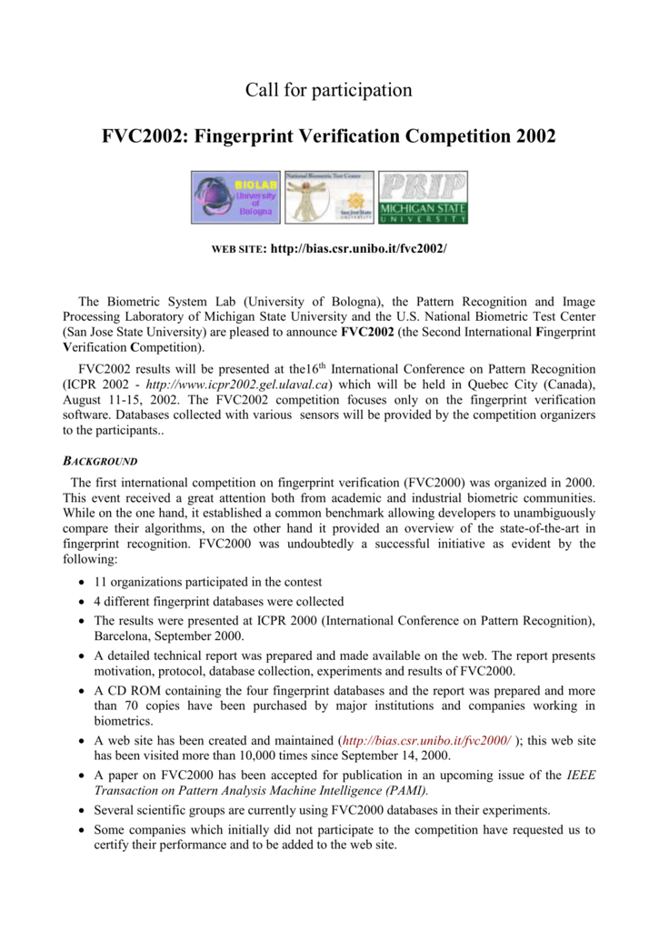 FVC2002 Call for Participation