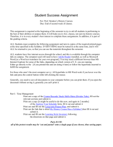 Student Success assignment MS Word document