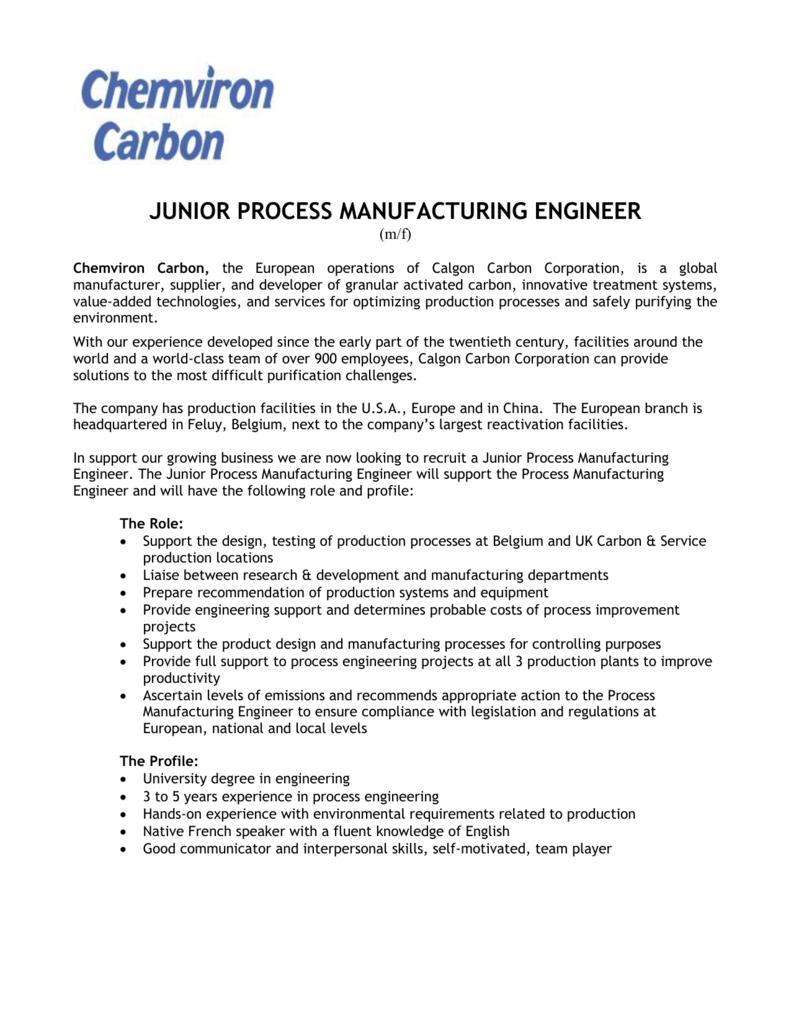 junior process manufacturing engineer