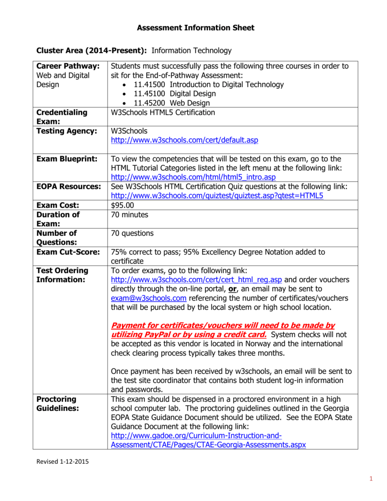 Assessment information sheet cluster area 2014 xflitez Choice Image
