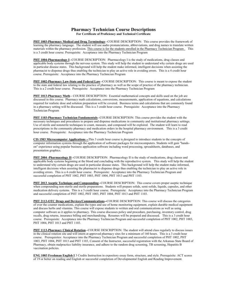 Pharmacy Technician Course Descriptions