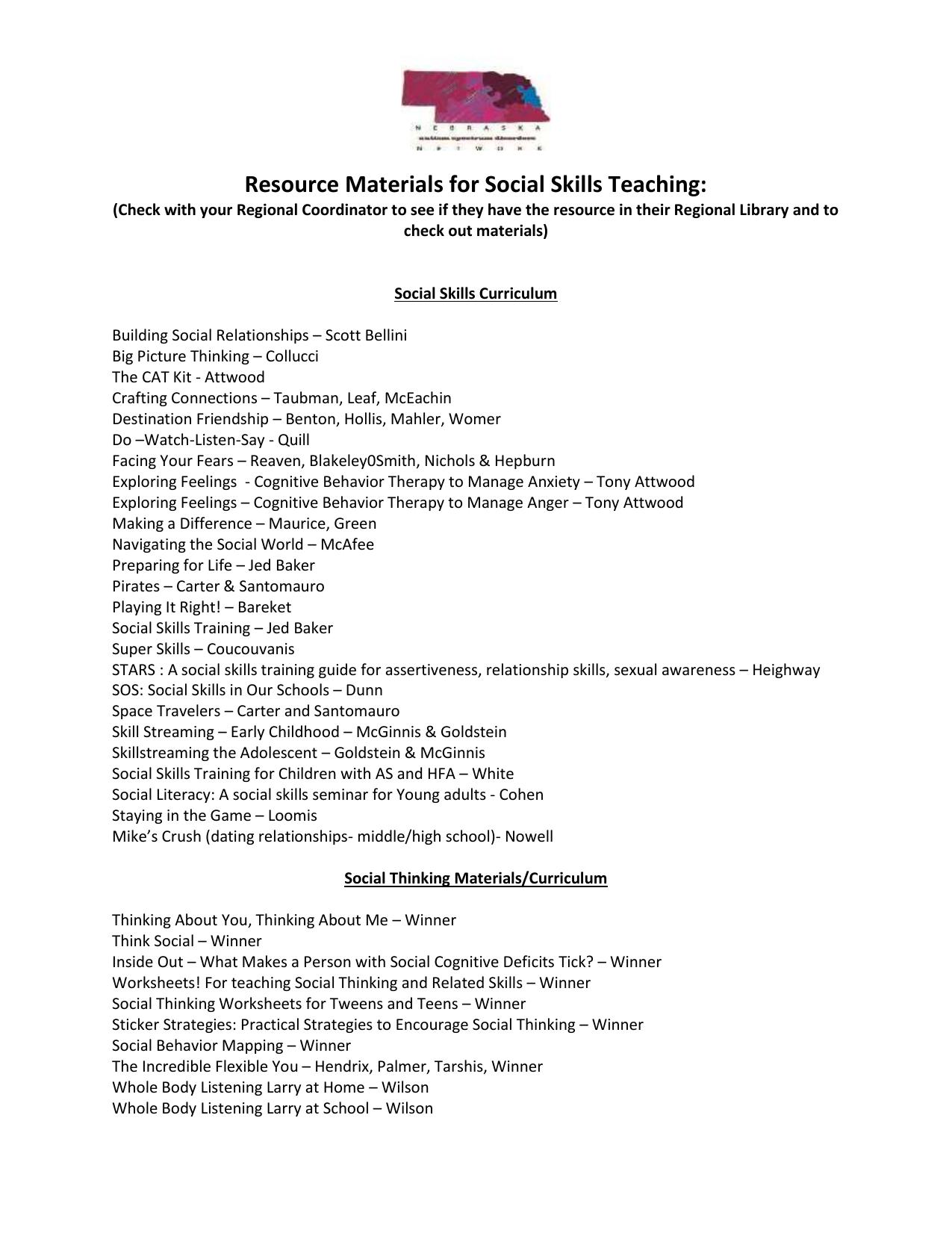 Social Skills Curriculum List
