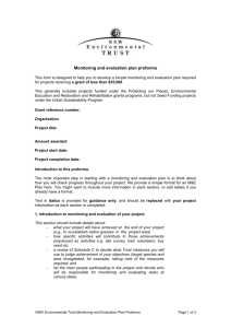 Monitoring and evaluation plan proforma This form is designed to