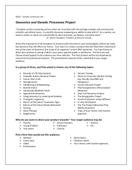 Genomics and Genetic Processes Project