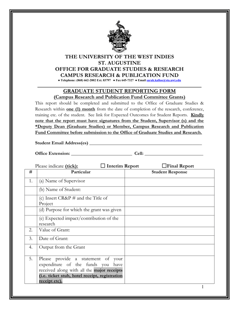 Student Reporting form - The University of the West Indies at St