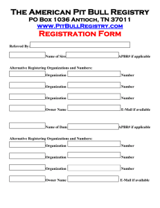 Registration Form - American Pit Bull Registry