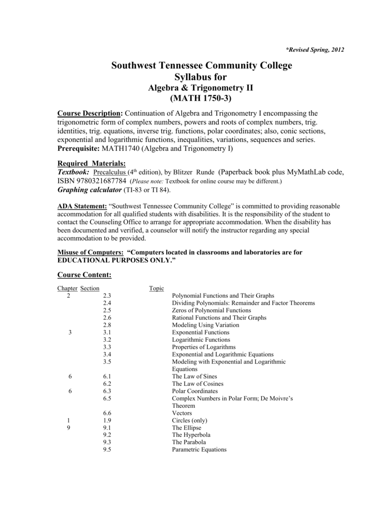 Syllabus for - Faculty - Southwest Tennessee Community College