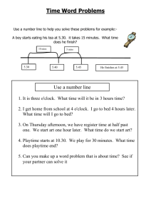 Time Word Problems - Primary Resources