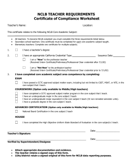 NCLB TEACHER REQUIREMENTS:Certificate of Compliance
