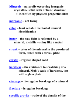 Minerals – naturally occurring inorganic