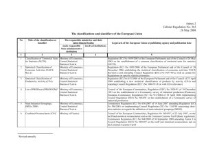 The classifications and classifiers of the European Union