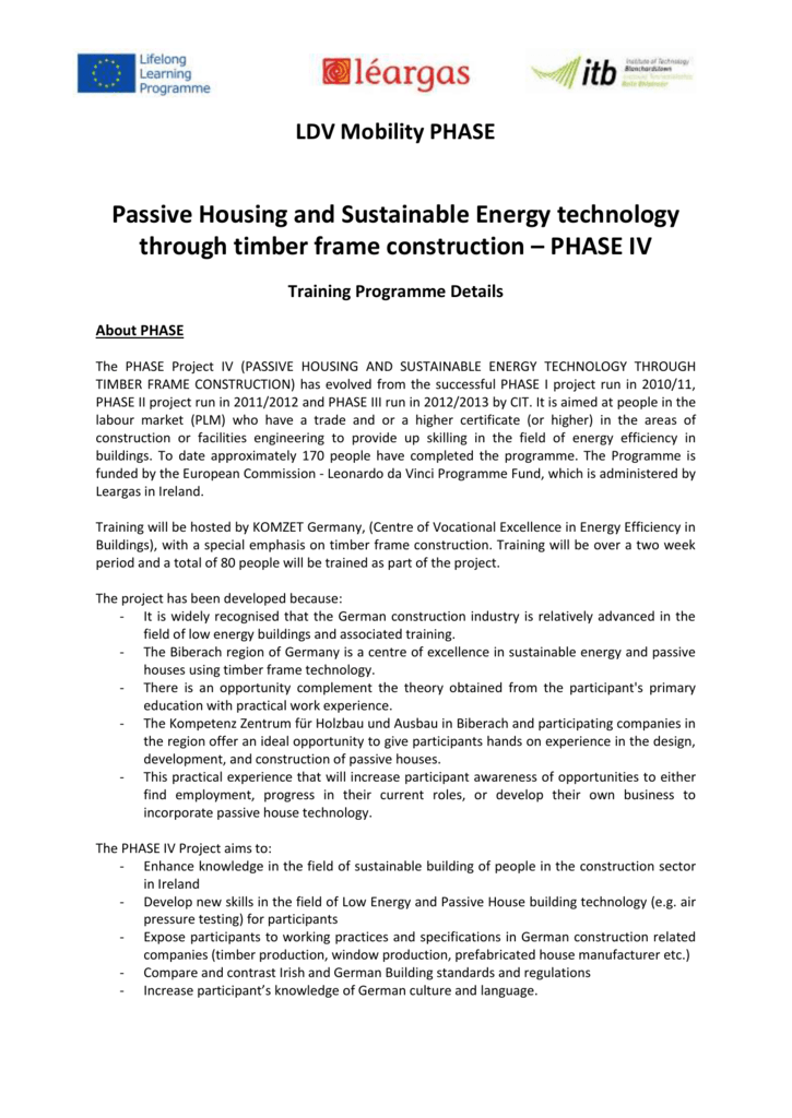 LDV Mobility PHASE Passive Housing and Sustainable Energy