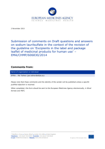 Draft questions and answers on sodium laurilsulfate in the