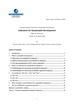 3 What is an indicator for sustainable development?