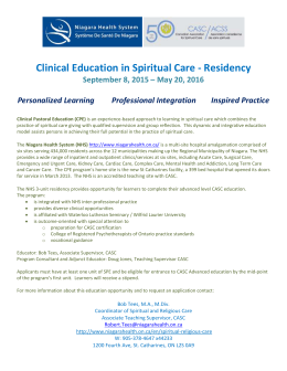 Clinical Education in Spiritual Care