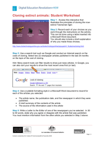 Cloning extinct animals: Student Worksheet