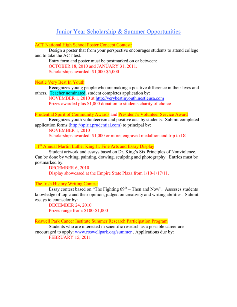 college scholarships essay contest 2010