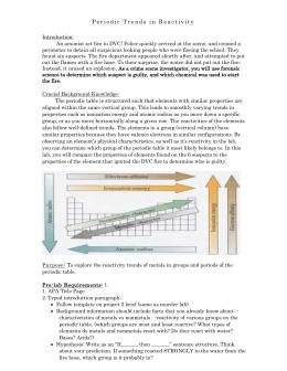 Metallic Behavior Trend