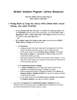 McNair Scholars Program: Library Resources