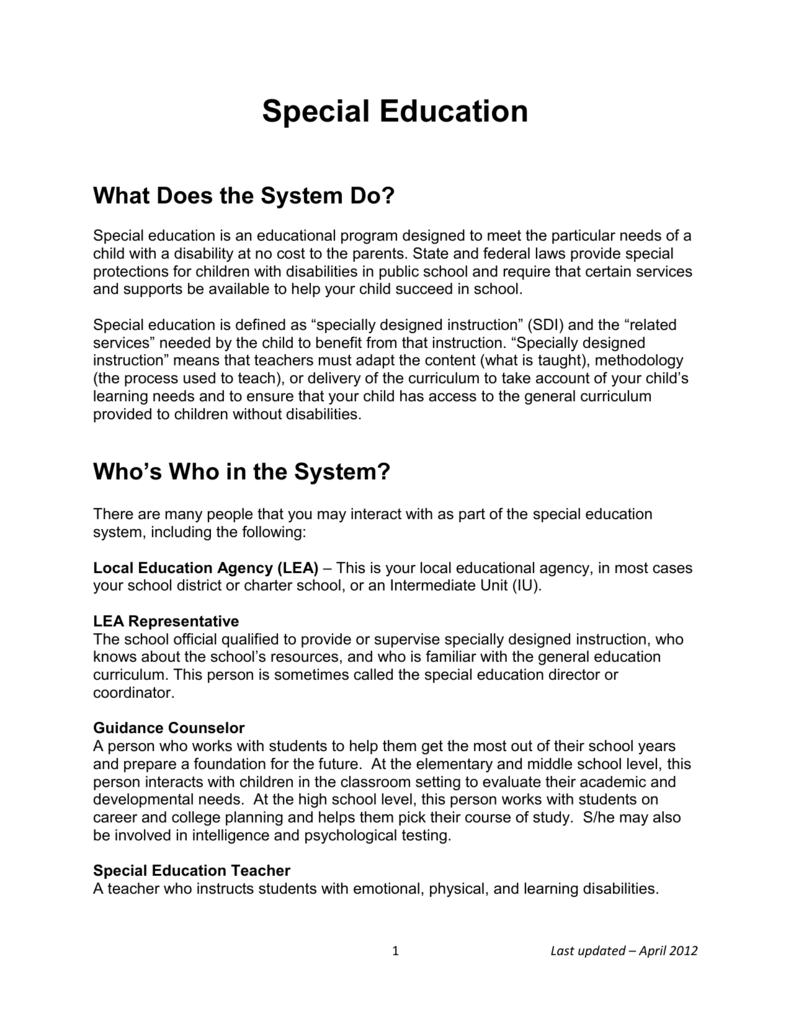 Special Education System Overview