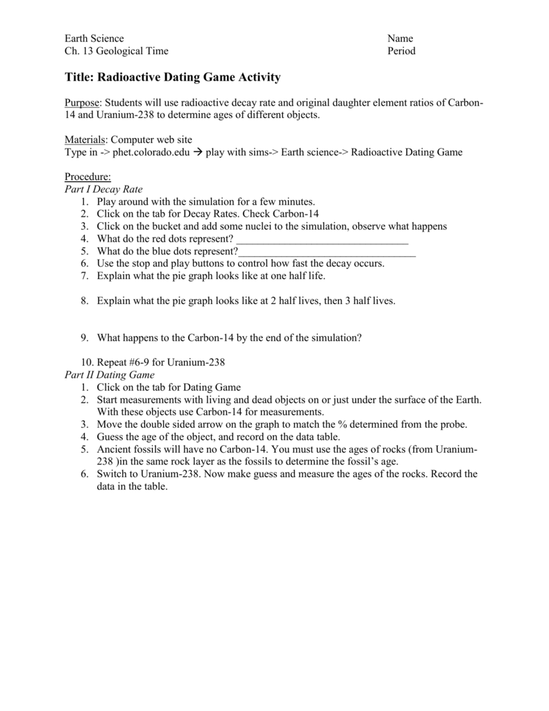Radiometric dating worksheet key
