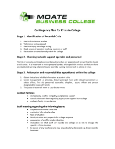 Crisis Plan - Moate Business College