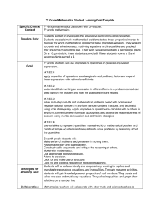 7th Grade Mathematics Student Learning Goal Template Specific
