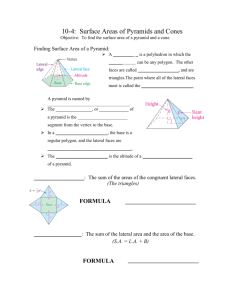 10-4: Surface Areas of Pyramids and Cones