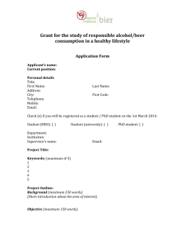 Application form - Kennisinstituut Bier