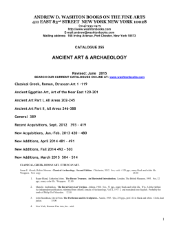 Ancient Art & Archaeology - Andrew D. Washton Books on the Fine