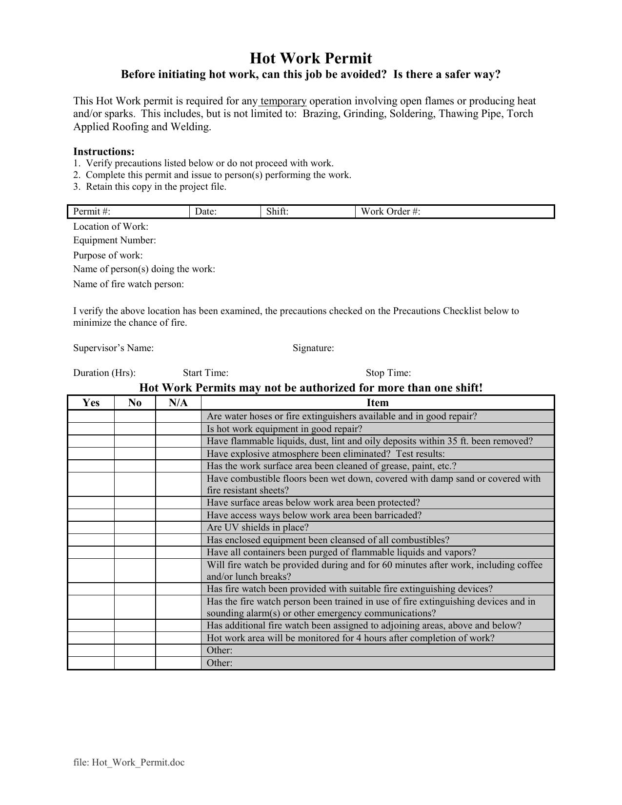 Hot Work Permit
