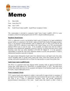 Memo - South Yuma County Landfill