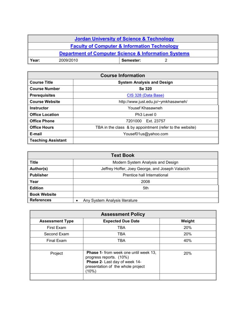 Syllabus Of System Analysis Jordan University Of Science And