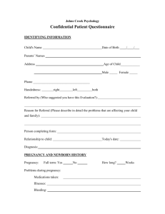 Confidential Patient Questionnaire