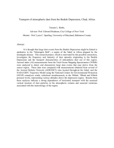 Transport of atmospheric dust from the Bodele Depression, Chad