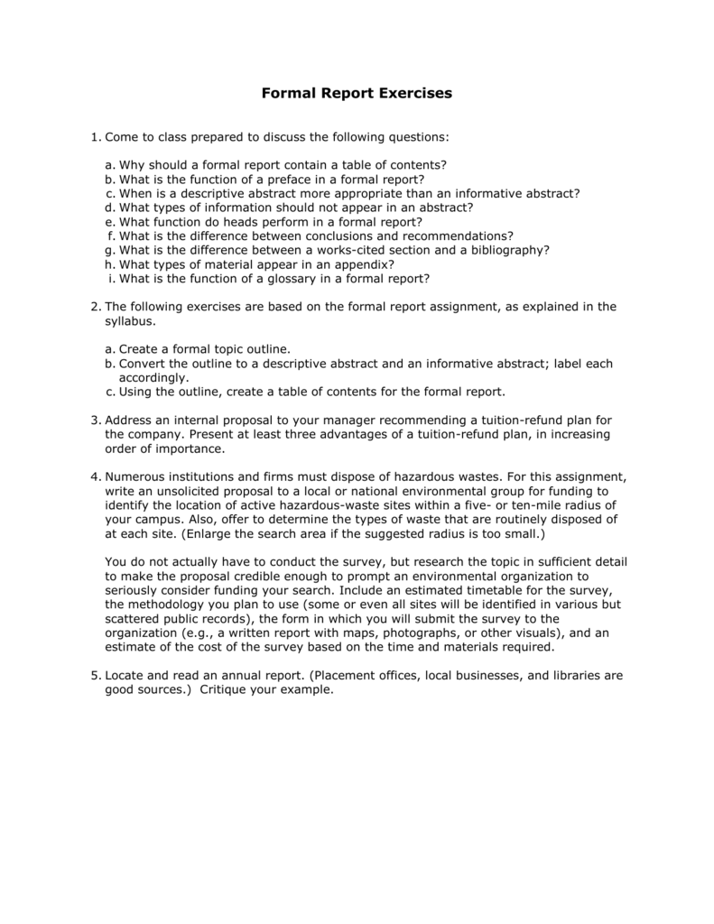 10 7 Formal Report Exercises